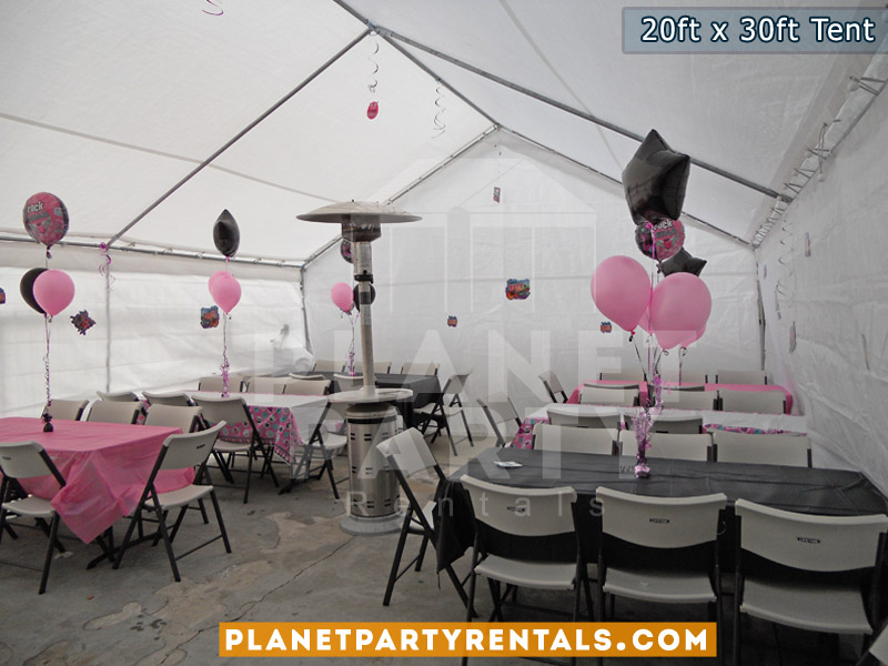 20ft x 30ft tent with sidewalls tables chairs and table cloths | san fernando valley party & 20ft x 30ft Party Tent |