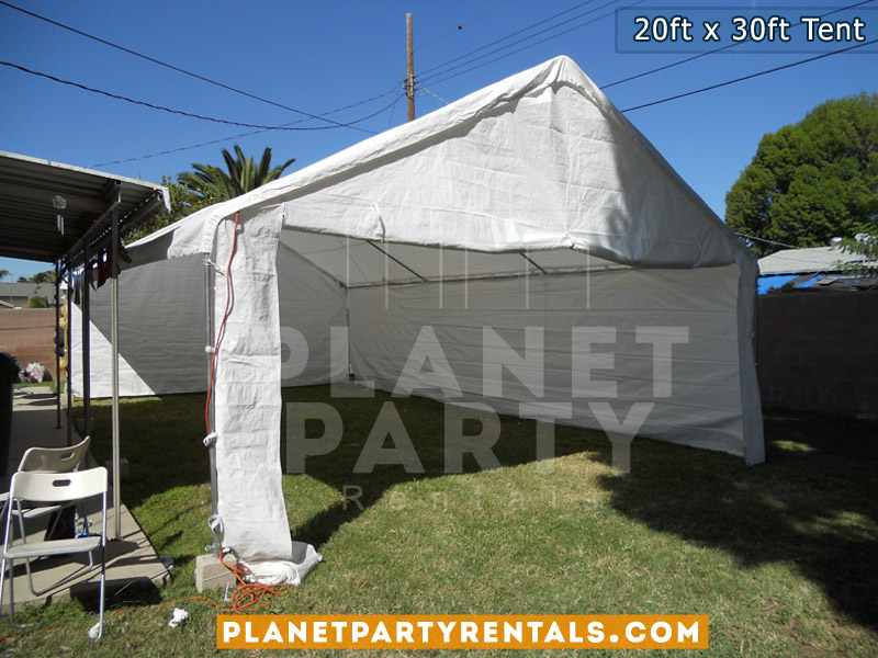 20feet by 30feet Height 11feet White Party Tent with Sidewalls and Entrance | Tent with white sidewalls and open entrace| Party Tent Rentals San Fernando Valley
