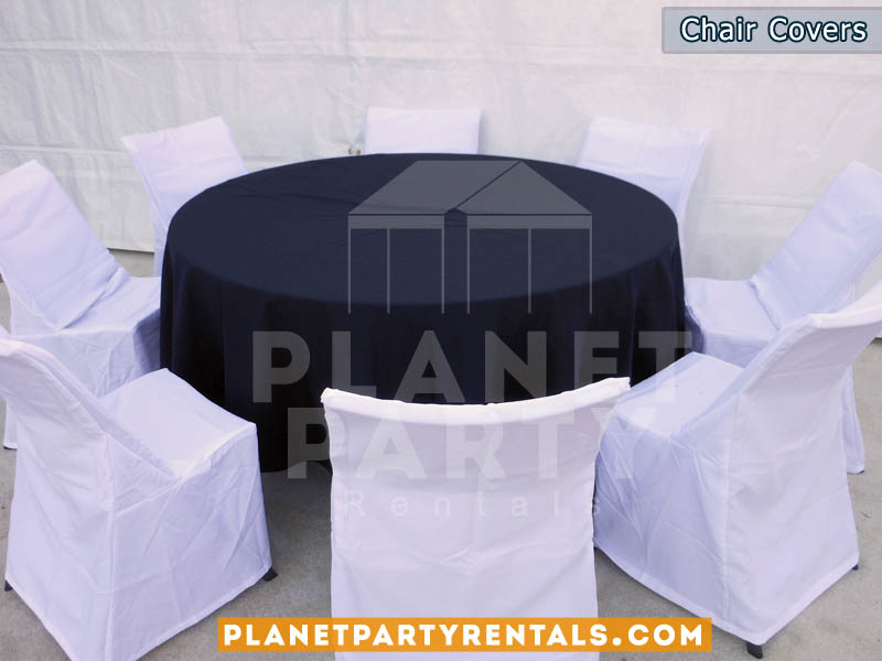 White chair covers and Table Cloths | Chair Cover/Table Cloth Rentals | San Fernando Valley