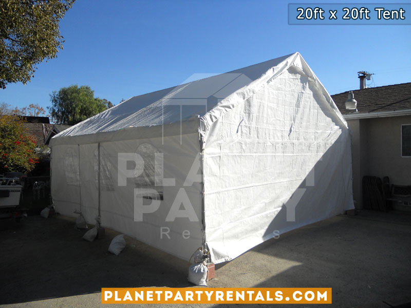 20feet by 20feet Height 11feet White Party Tent with Sidewalls and Entrance | Tent with white sidewalls and plastic windows | Party Tent Rentals San Fernando Valley