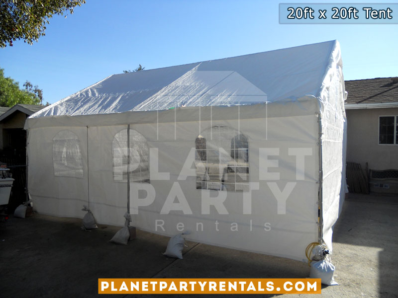 20ft x 20ft white party tent with rectangular tables and white plastic chairs | San Fernando Valley | Simi Valley | Santa Clarita | West Los Angeles