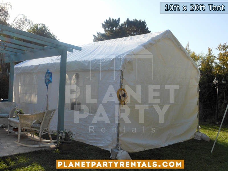 10feet by 20feet Height 10feet White Party Tent with Sidewalls and Entrance | Tent with white sidewalls and plastic windows | Party Tent Rentals San Fernando Valley