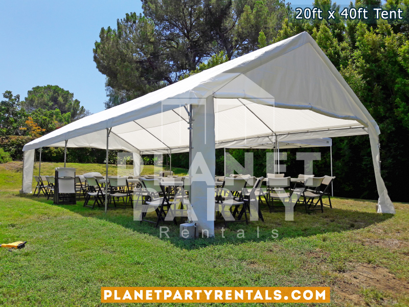 "20x40 White Party Tent on grass with 60"" Round Tables and White Plastic Chairs"