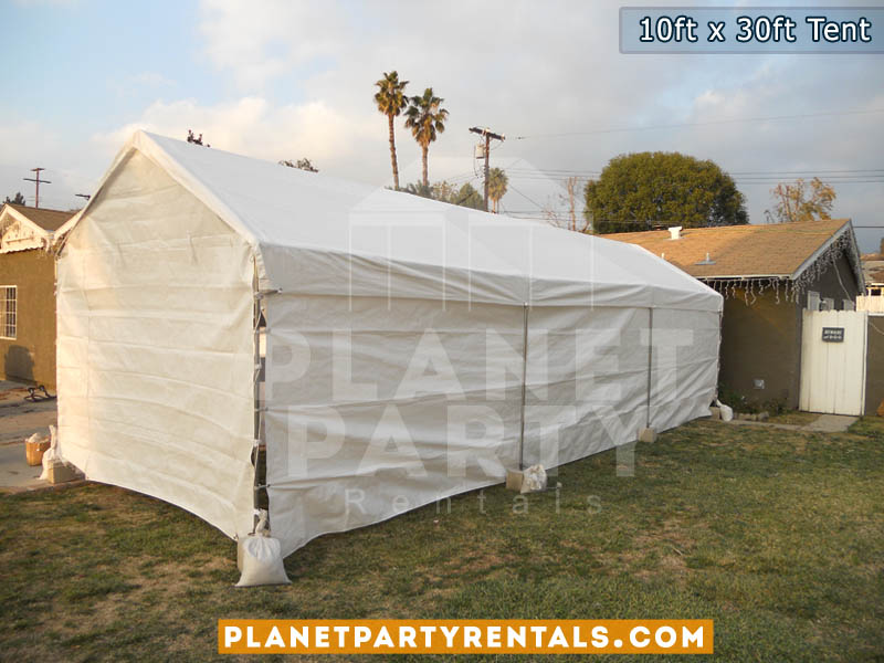 10ft x 30ft white party tent | san fernando valley party tent rentals