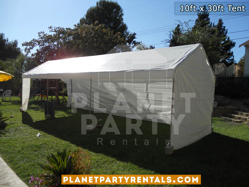10 feet by 30ft Height 10ft White Tent with Sidewalls | Party Tent Rentals San Fernando Valley | Tent Packages Available for Rent