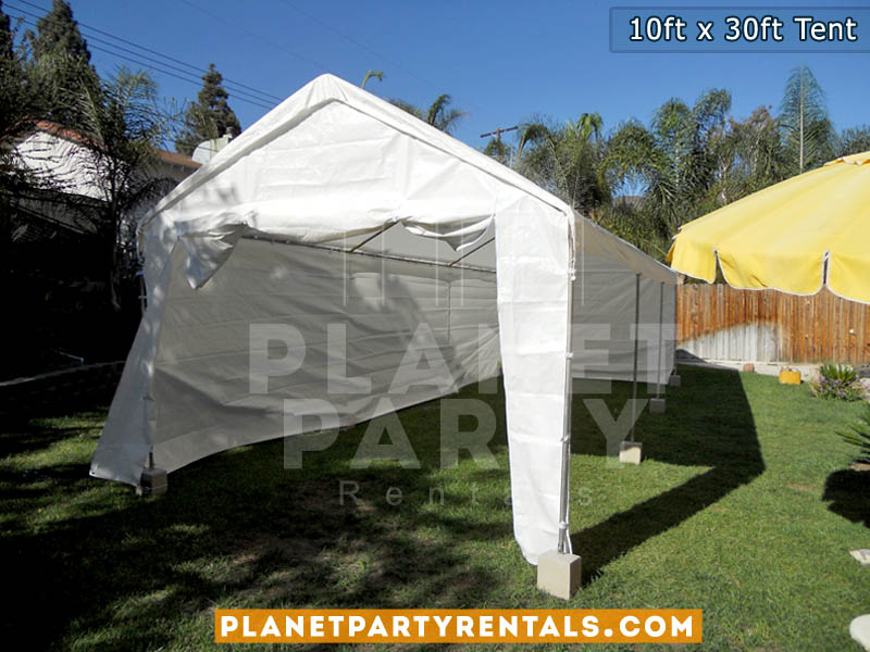 white party tent with sidewalls size 10ft by 30ft height 11feet party rental equipment
