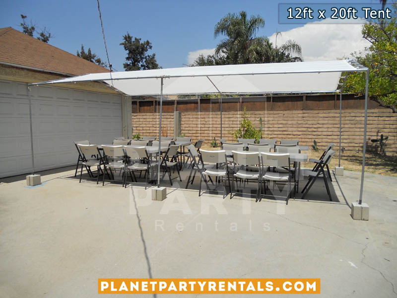 12ft x 20ft Tent with white rectangular tables and chairs - San Fernando Valley Party Rental Equipment