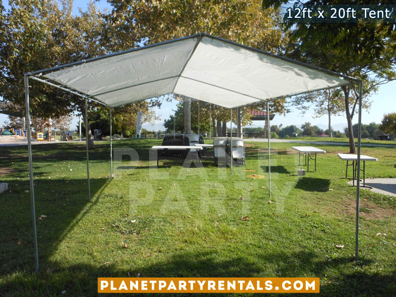 12ft x 20ft open tent with white tables and white rectangular tables 6ft x 3ft | Party Tents