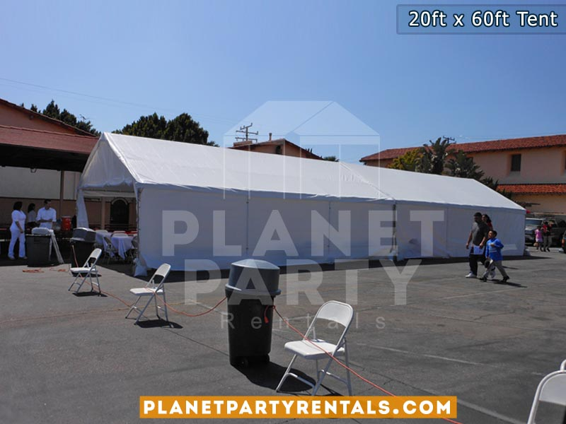 20ft x 60ft white party tent with sidewalls | Simi Valley , Santa Clarita, West Los Angeles, San Fernando Valley, Van Nuys Tent Rentals