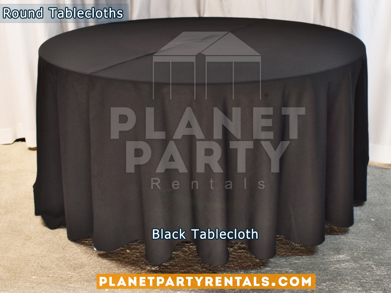 "Black color round tablecloths for a 60"" Round Table floor length"