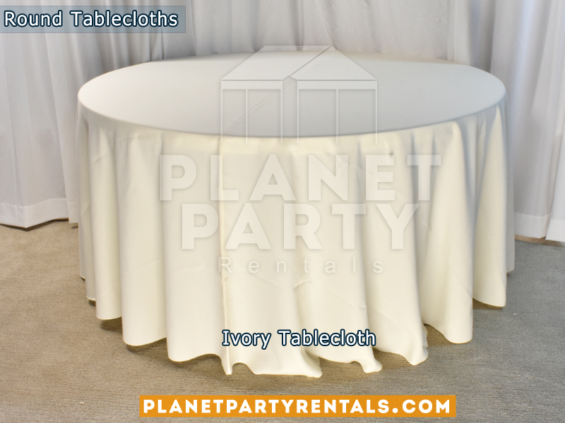 "Ivory color round tablecloths for a 60"" Round Table floor length"