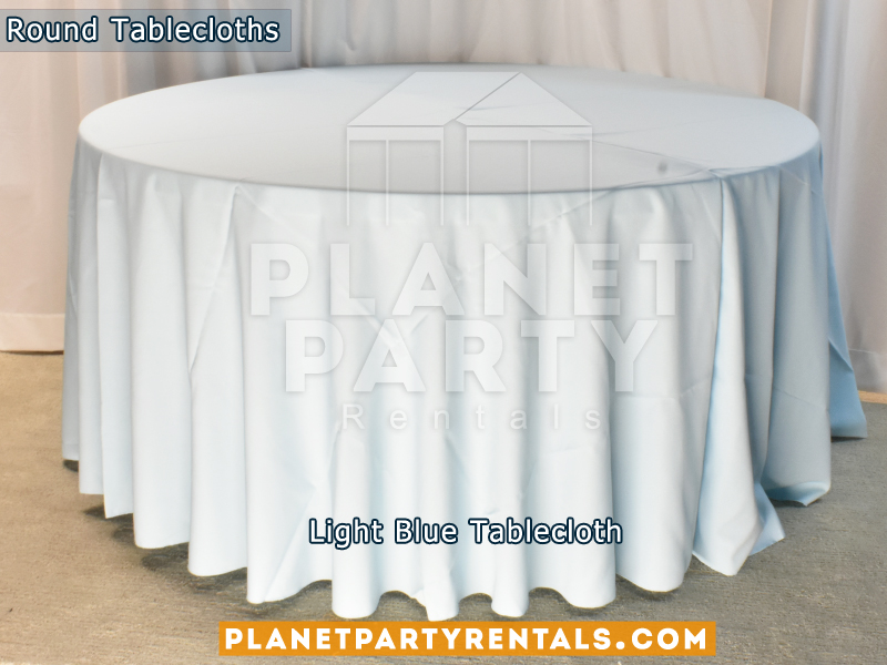 "Light Blue color round tablecloth for a 60"" Round Table floor length"