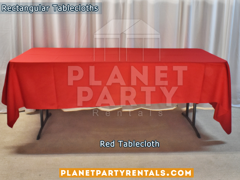 Red Rectangular Tablecloth for 6ft Rectangular Table