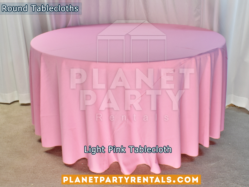 "Light Pink color round tablecloth for a 60"" Round Table floor length"