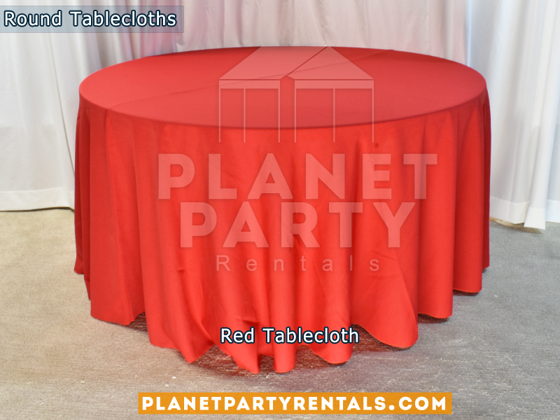 "Red color round tablecloth for a 60"" Round Table floor length"
