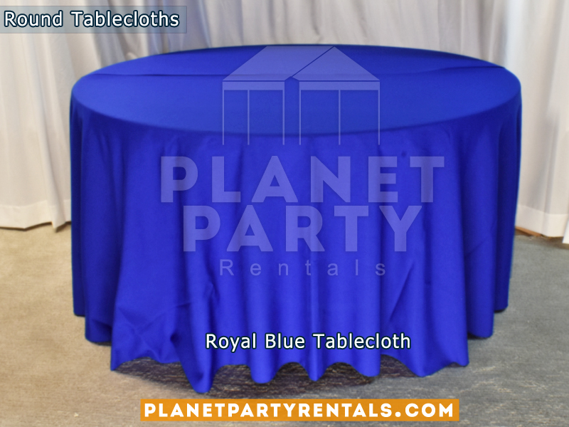 "Royal Blue color round tablecloth for a 60"" Round Table floor length"