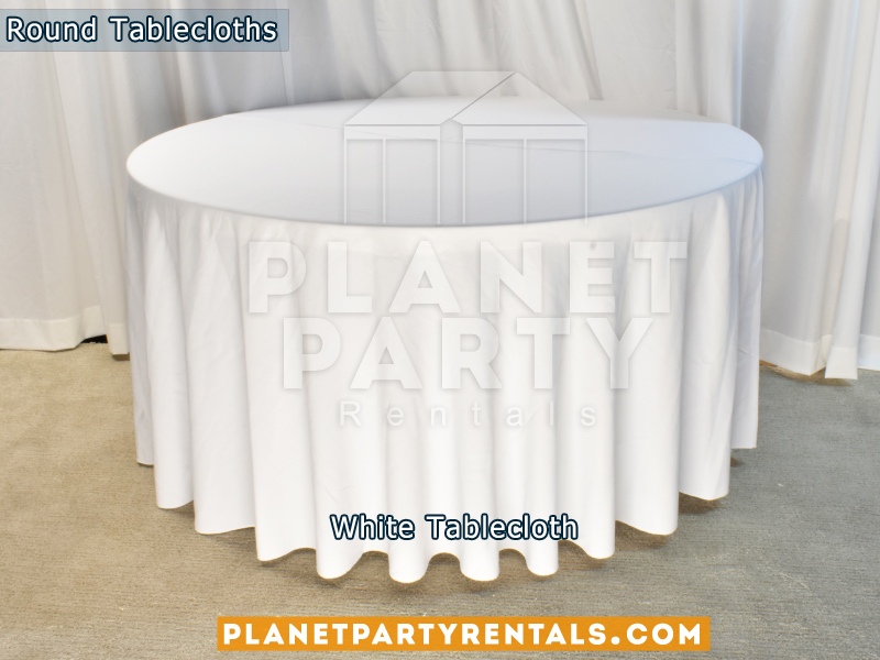 "White color round tablecloth for a 60"" Round Table floor length"