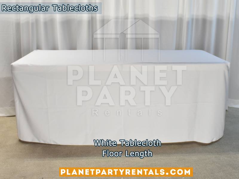White color Rectangular Tablecloth for 6ft Rectangular Table (Floor Length)