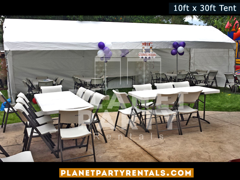 10x30 Tent with white 6ft Long Rectangular Tables and White Plastic Chairs