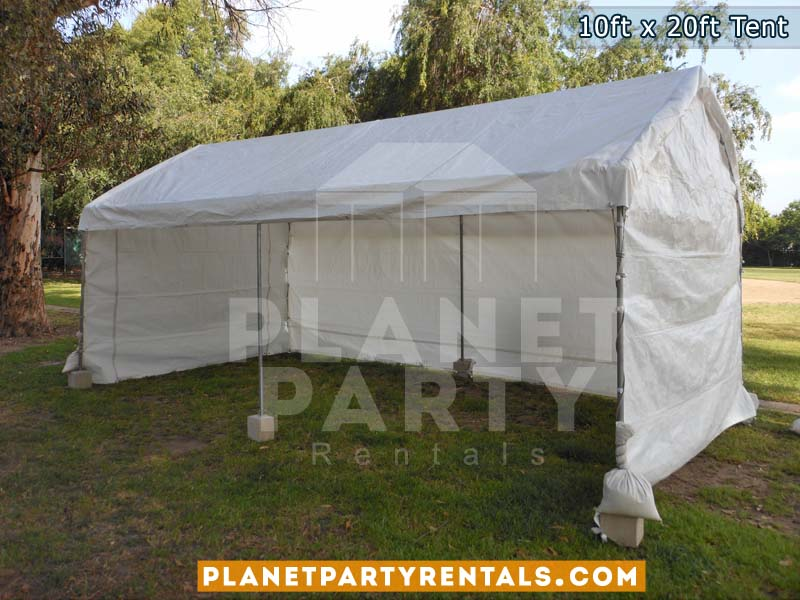 10x20 White Party Tent with white Sidepanels setup on Grass
