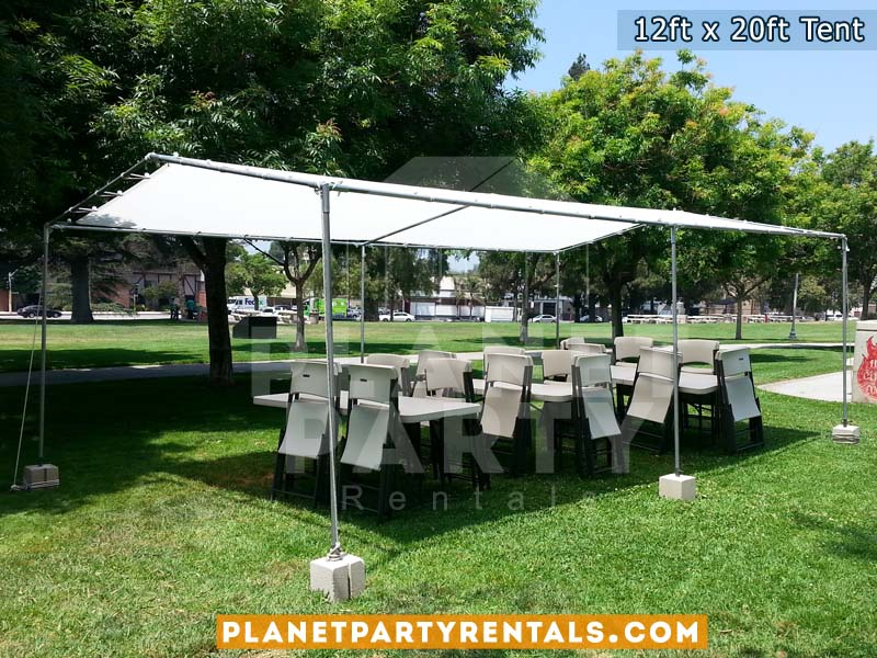 12x20 Tent pictured with 6ft Long Rectangular Tables and White Plastic Chairs