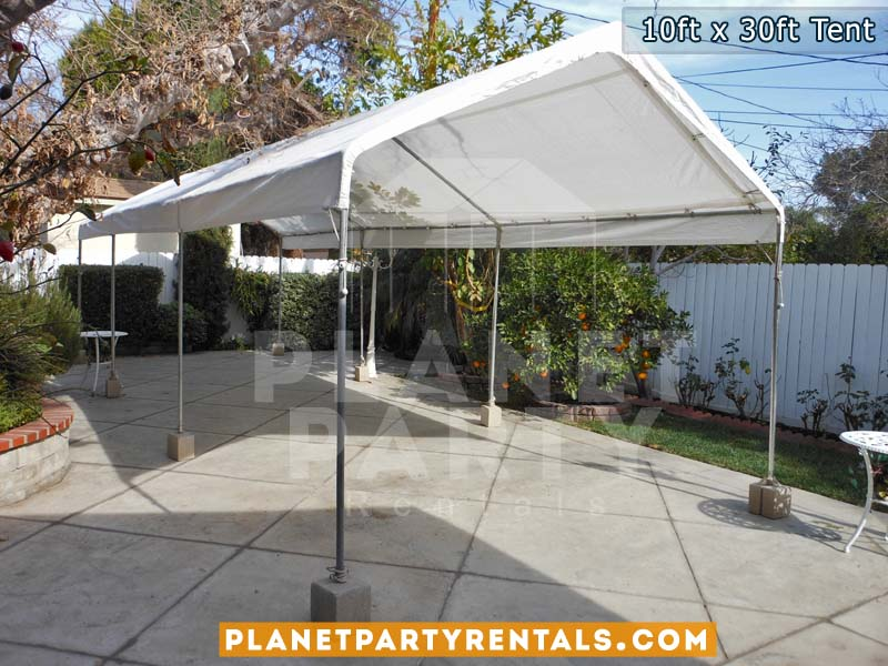 10x30 Tent with no sidepanels on Cement
